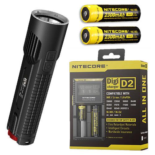 Nitecore EC4S 2150Lm Flashlight XHP50  w 2x NL183 18650 Batteries & D2 Charger