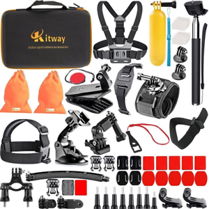 Kitway 65-in-1 Action Camera Accessories Kit for New GoPro HERO9, Compatible wit