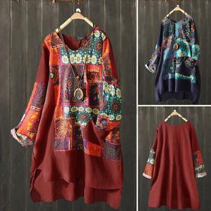 Oversize-Femme-Manche-Longue-Asymetrique-Pur-Coton-Col-V-Impression-Mini-Robe