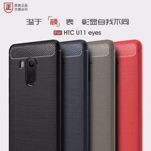 Pour-HTC-U11-Yeux-Antichoc-Hybride-Robuste-Silicone-Carbone-Doux-Fibres-Etui