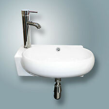 Ceramic Bathroom Vessel Sink Wall Mount Faucet on Left Chrome