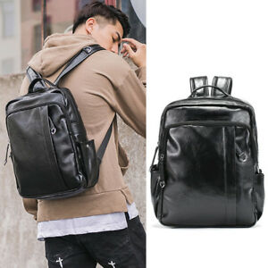 3bcf4c6b09ef Men s Small Faux Leather Backpack Rucksack Daypack College School ...