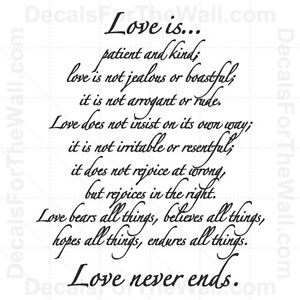 love is patient and kind not jealous never ends vinyl wall decal art