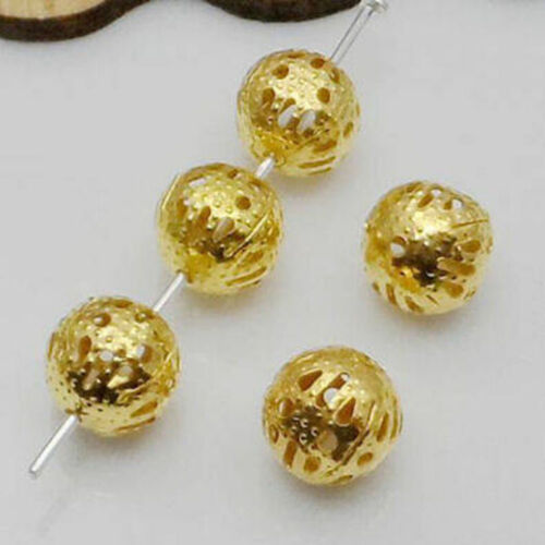 Metal Charms Hollow Flower Ball Loose Spacer Beads Jewelry Making DIY 4//8//10mm