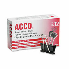 Acco Binder Clips Small Blacksilver Dozen Tempered Steel Extra Strong Hold
