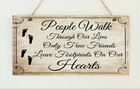 Beautiful Shabby Friends Distressed Wooden Sign Plaque Chic Footprints Hearts