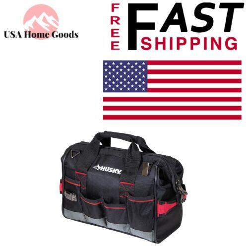 HUSKY Large Mouth Tool Bag 14 in.Heavy Duty Organizer W// Dual Lockable Zipper
