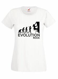 T-shirt-Donna-EVOLUTION-ROCK-maglietta-cotone-moda-climbing-idea-regalo-S-XL