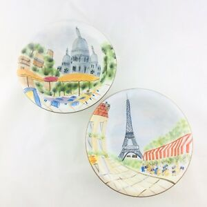 2-AMERICAN-ATELIER-Soup-Cereal-Bowls-PARISIAN-SCENE-5194-Hand-Painted-EUC