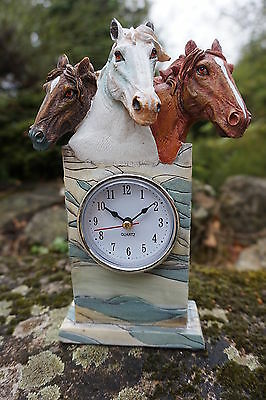 Costruttivo Na0291 Horloge Pendule Figurine Statuette Equitation Etalon Cheval Promo Tecnologie Sofisticate