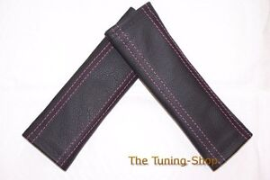 2x-Seat-Belt-Covers-Pads-Black-Genuine-Leather-Pink-Stitching