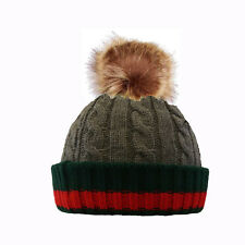 a2964bc7a55 item 5 Men s Women s Winter Rib Knitted Beanie Hat with Chunky Faux Fur  Bobble Pom Pom -Men s Women s Winter Rib Knitted Beanie Hat with Chunky  Faux Fur ...
