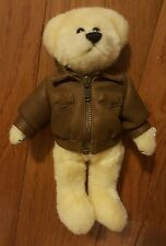 TY Beanie Baby Plush Cream Color Bear Brown Leather Bomber Jacket Original 1993