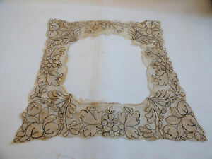 Antique-Lace-Embroidery-Collar-Hand-Made-Victorian-Dress-Trim-Ecru