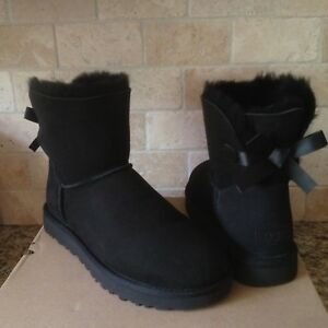 1e6e32c79bf Details about UGG MINI BAILEY BOW II 2 BLACK WATER-RESISTANT SUEDE BOOTS  SIZE US 8 WOMENS