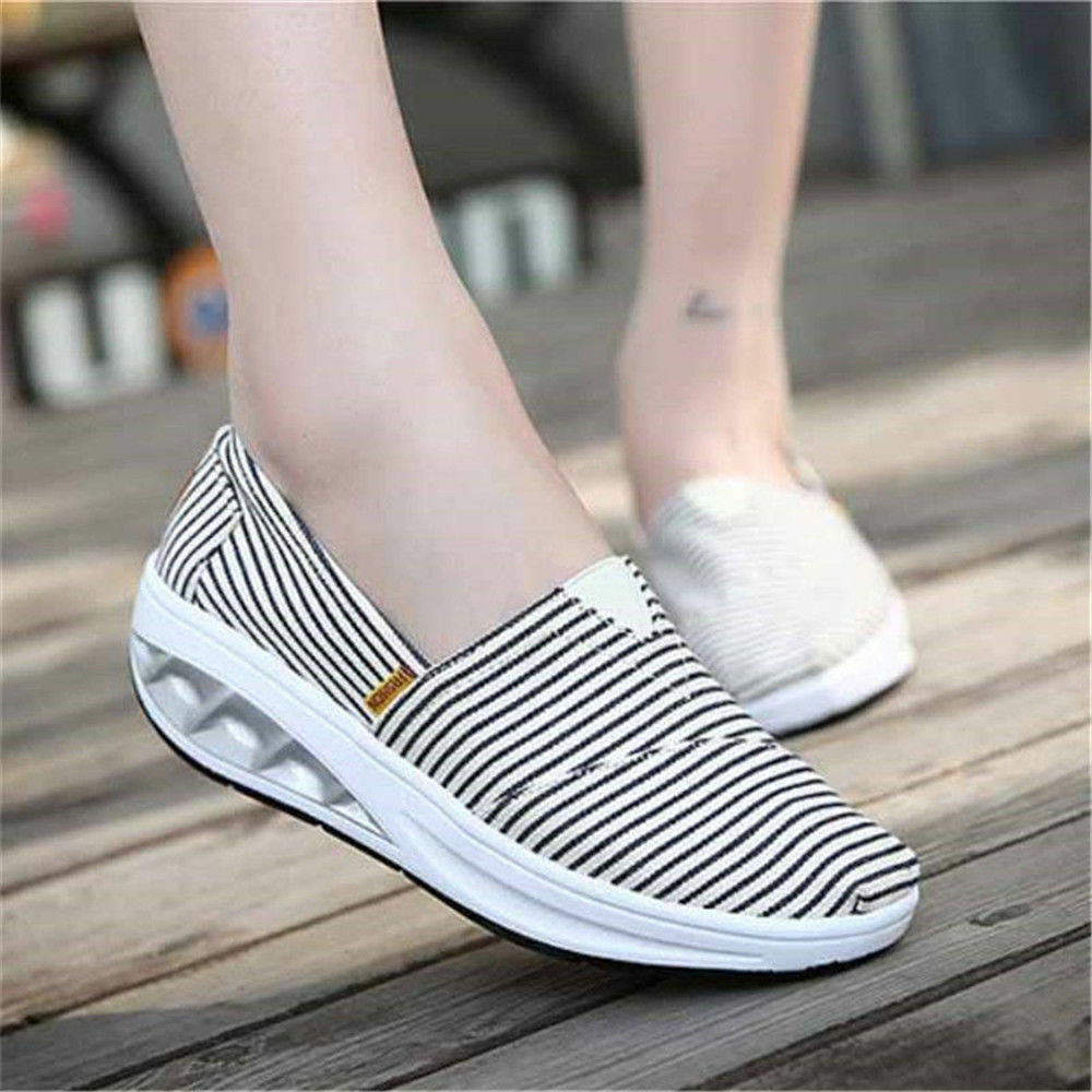 Women's Soft  Flat Striped Canvas shoes Casual Slip On Loafers Low Top Sneakers