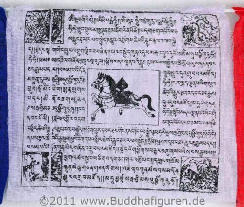 5er Set Tibetische Gebetsfahnen Länge 3m
