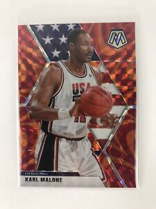 2019-20-Panini-Mosaic-KARL-MALONE-Team-USA-ORANGE-REACTIVE-PRIZM-Jazz-257