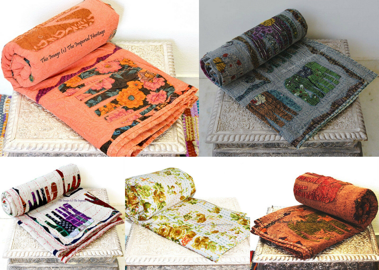 Queen Indian Handmade Kantha Blanket Quilt Throw Vintage 100% Cotton Bed Cover