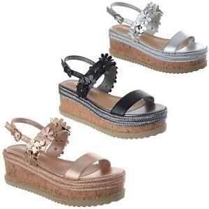 2d8865c03d4 Details about Womens Ladies New Cork Wedge Platform Ankle Strap Espadrilles  Sandals Shoes Size