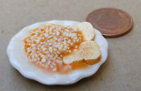 1:12 Scale 3.5cm Plate Of Beans On Toast Dolls House Miniature Food Accessory