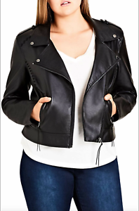 City Chic women's Trendy Biker black Jacket zip front plus size L/20