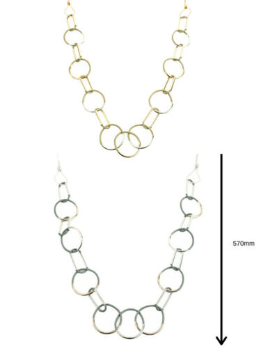 Womens Long Metal Necklaces Gold Silver Rose Gold Fashion Jewellery Multi Pack