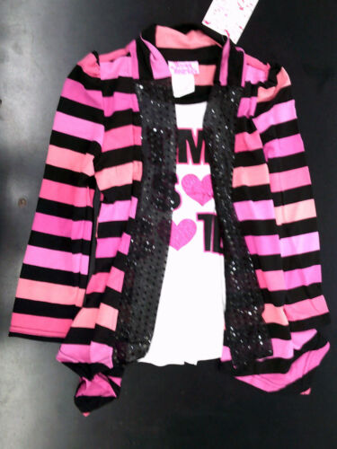 Coral 6X /& Black Set Size 2T Toddler /& Girls Young Hearts 2pc Pink