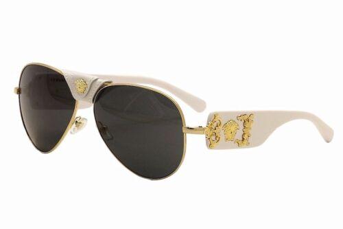 Versace 2150Q 2150-Q 1341//87 White//Gold Medusa Genuine Leather Pilot Sunglasses