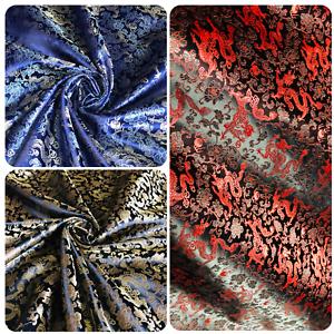 "Hot pink fish Print Brocade Fabric 45"" Wide Dress upholstery craft bridal fabric"