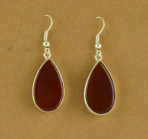 Red-Onyx-925-Solid-Sterling-Silver-Earring-Dangle-STUNNING-Earring-Fine-Jewelry