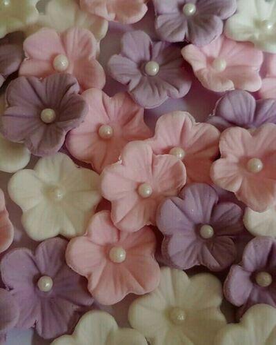 36 Rose Blanc Lilas Large Fleurs Comestible Pâte de Sucre Cake Topper Cupcakes Baby