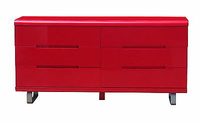 Kommode Spacy hochglanz rot Schubladen Schrank Sideboard Highboard Anrichte