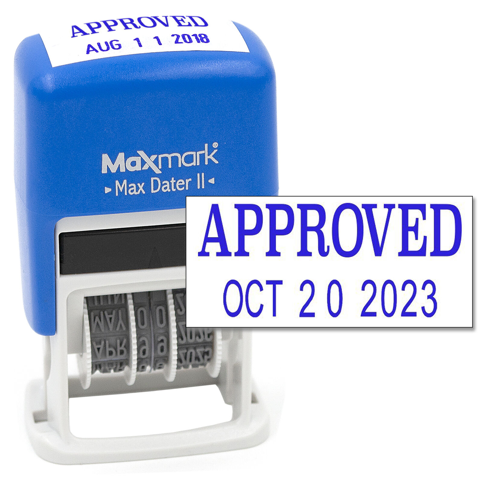 Printtoo Dater Stamp Self Inking with Approved /& Custom Text Line Office Stationery Date Rubber Stamp-Blue