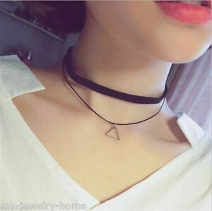 Women-Girl-Xmas-Gift-Charm-Bohemia-Sexy-Black-Leather-Choker-Triangle-Necklace