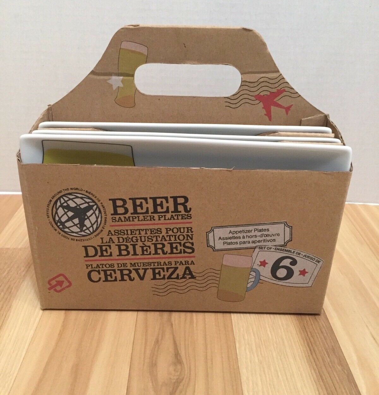 Crate & Barrel Beer Sampler Plates Appetizer Set of 6 In Tote Box Careful Ship
