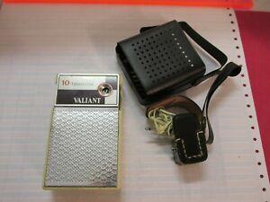 VALIANT 10 Vintage Transistor Radio Case Earphone Makes Noise when Turned On