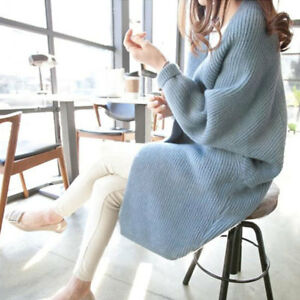 Women-039-s-Casual-Knitted-Cardigan-Sweater-Trench-Coat-Loose-Long-Winter-Outwear