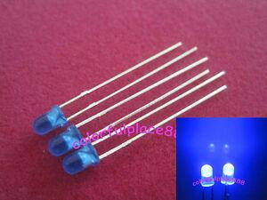 100pcs 3mm Yellow Diffused Round Flangeless Bright LED Leds Light Resistors