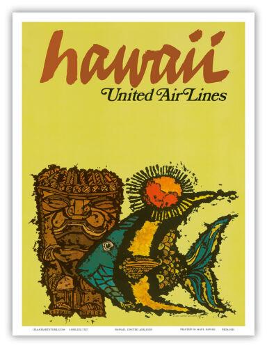 United Air Lines HAWAII Tiki /& Moorish Idol 1967 Vintage Travel Poster Print