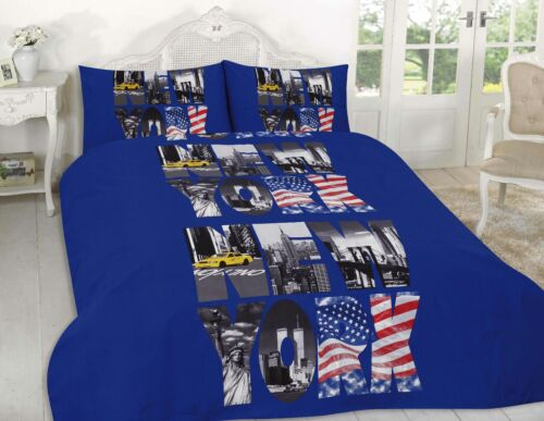 Luxury New York Text Blue Design Duvet Cover Set Bedding with Pillowcase Cover