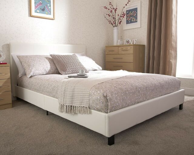 White Faux Leather Small Double Bed in a Box Bed LOCAL Delivery ASSEMBLY FREE