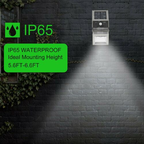 Solar Powered PIR Motion Sensor LED Security Wall Light Outdoor Garden Patio TH