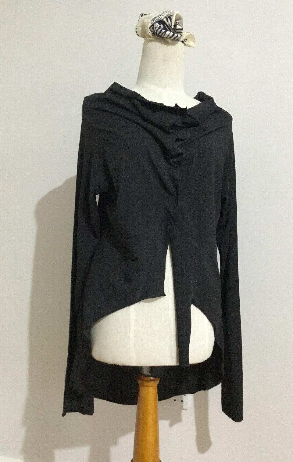 "BARBARA SPEER Lagenlook Asymmetric Jacket Top Stretchy Organic Cotton Sz 2 Ch36"""