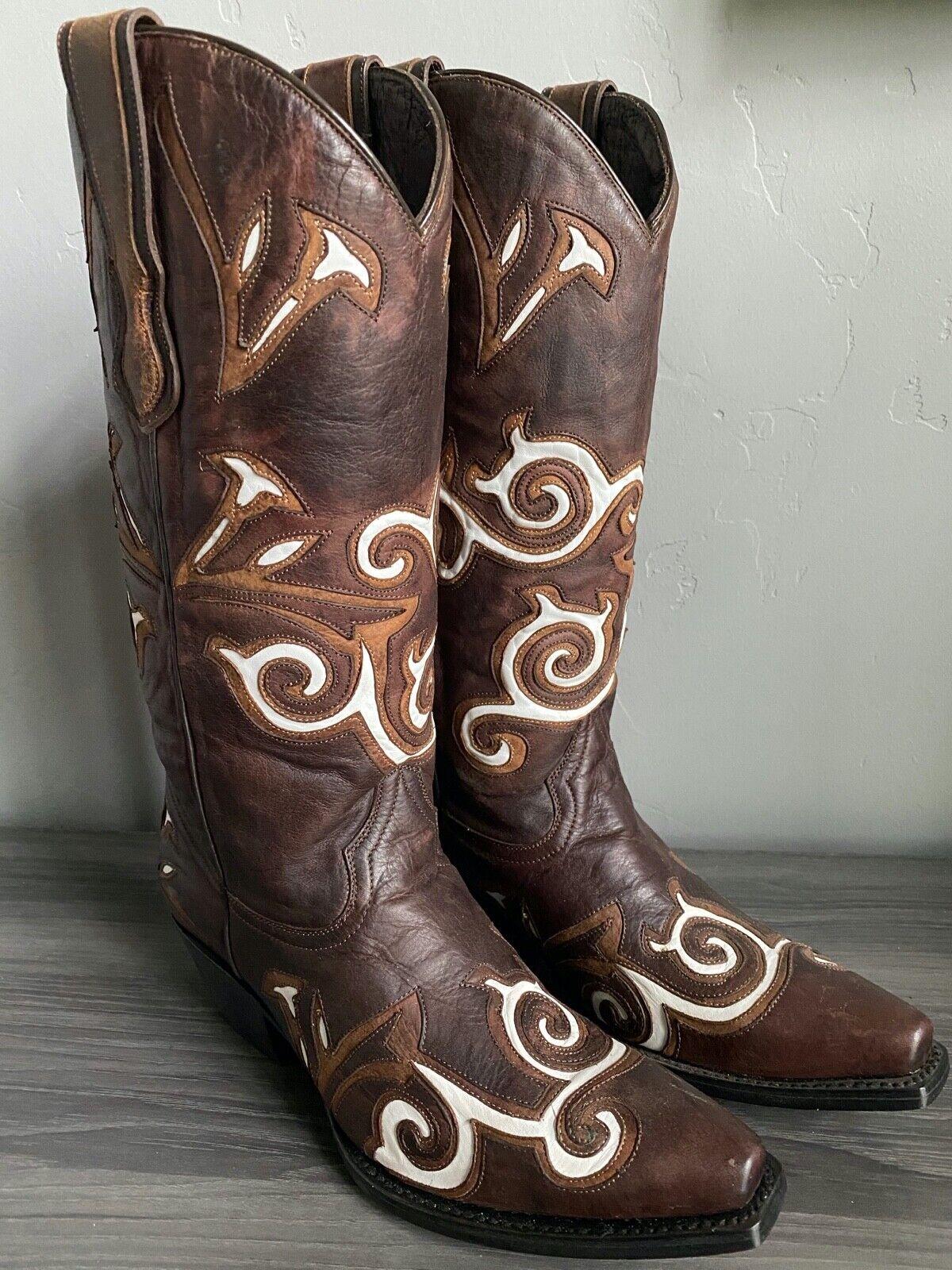 New DARK BROWN & WHITE inlay womens ladies cowboy boots - sample sale! Size 7