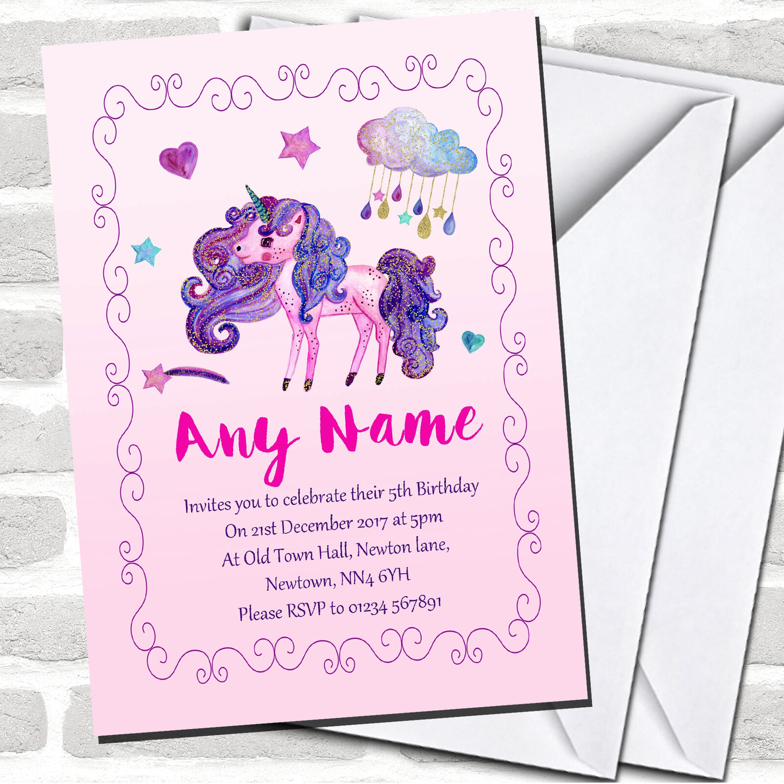 Pretty Party Glitter Rosa Unicorn Childrens Birthday Invitations 314b0f