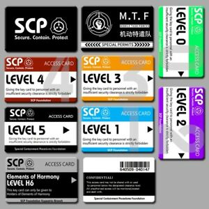 10pcs SCP Foundation Keycards PLASTIC CARD electronic pass cosplay games gift