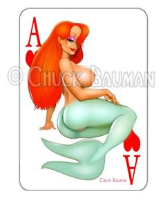 JESSICA RABBIT MERMAID 2018 girl pin-up playing card style sticker decal X