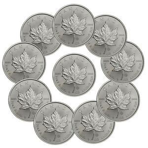 2017-Canada-5-1-oz-Silver-Maple-Leaf-Lot-of-10-Coins-BU-SKU44168