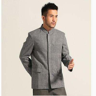 gray new style Chinese men's Cashmere clothing jacket/coat SZ: S M L XL XXL